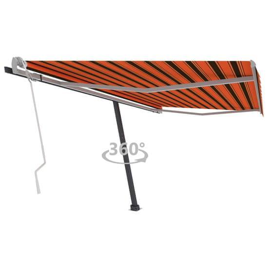 shumee Stojaca ručne zaťahovacia markíza 400x300 cm oranžovo-hnedá