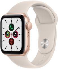 Apple Watch SE, 40mm Gold Aluminium Case with Starlight Sport Band (MKQ03HC/A)
