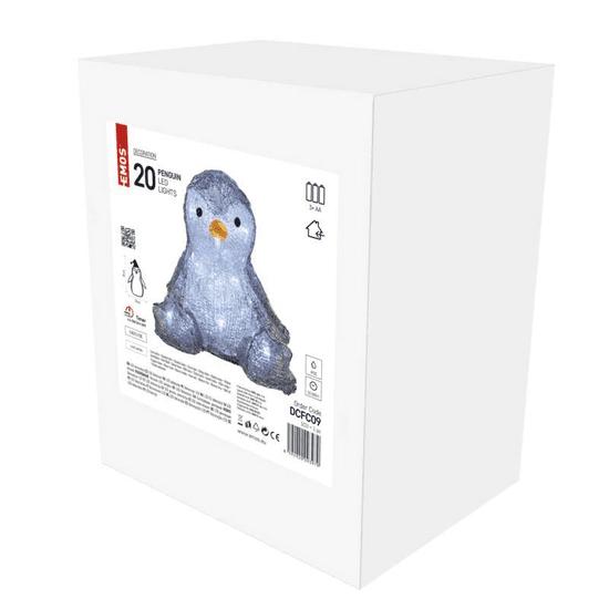 EMOS LED božićni pingvin, 20 cm, 3 × AA, unutarnji, hladno bijeli, timer