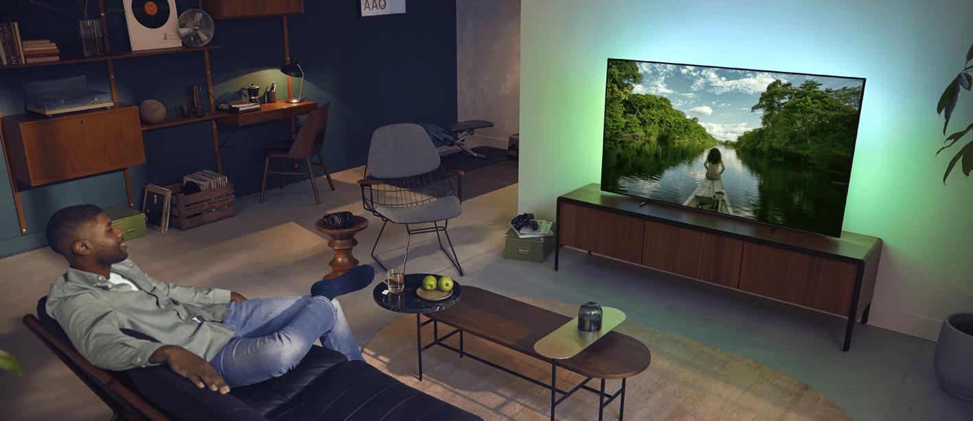Philips tv televízió OLED 4K 2021 Ambilight vékony keretek távirányító háttérvilágítás