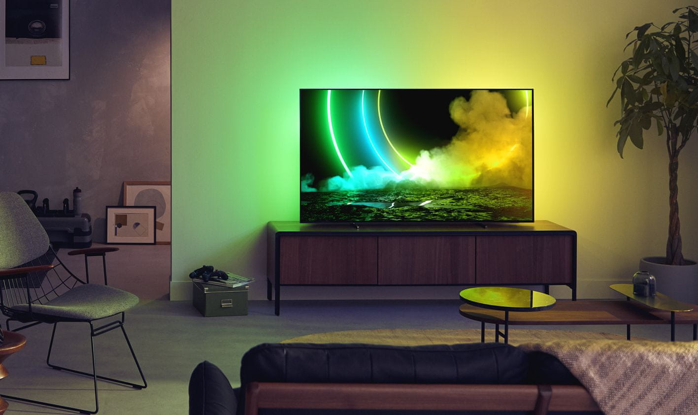 Philips tv televize OLED 4K 2021 Ambilight 100% színmélység