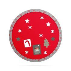 Family Christmas Prt za božično drevo okrogli z izrezom, fi 97 cm rdeč / siv