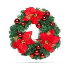Family Christmas Božični venček okrašen 40 cm rdeč