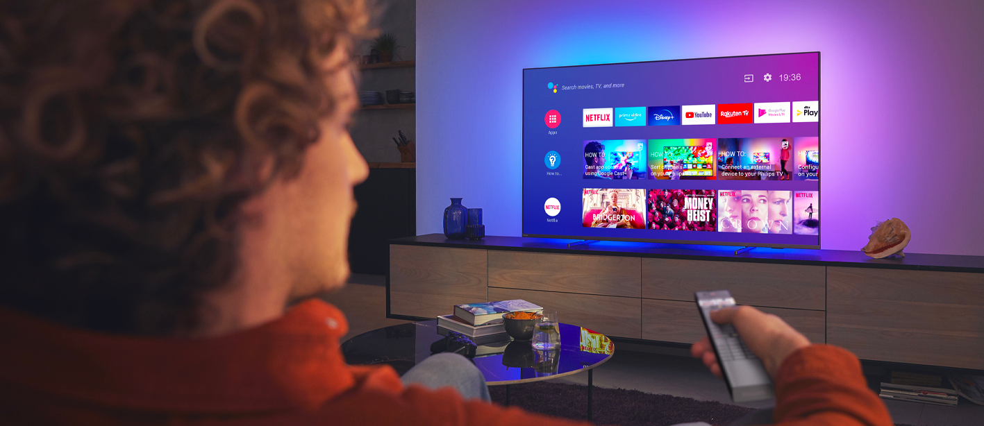 Philips tv televízió LED 4K 2021 Ambilight Android TV