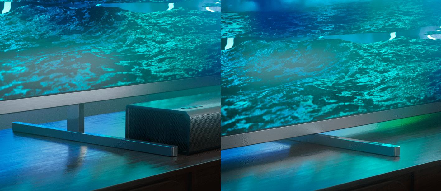 Philips tv televízió LED 4K 2021 Ambilight beállítható állvány soundbar