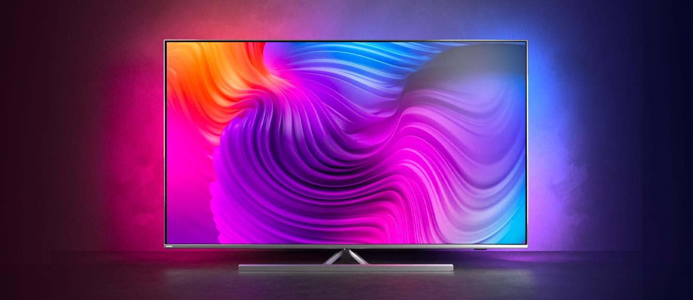 Philips tv televize LED 4K 2021 Ambilight nastavitelný stojan