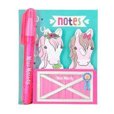 Miss Melody Sada lepiacich štítkov s perom , 2x štítky a 1x prepisovačka