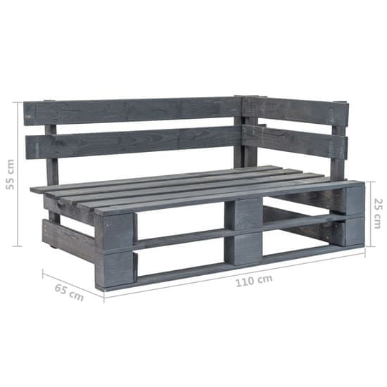 Vidaxl 4dílná zahradní sedací souprava z palet a podušky šedá borovice