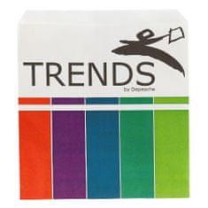 DEPESCHE e papírzacskó, Trendek, fehér, színes csíkokkal, 19 x 21,5 cm