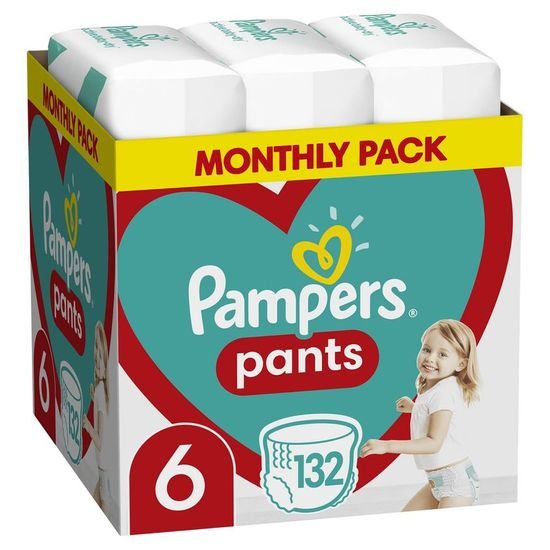 Pampers Plenkové kalhotky Pants 6 (15+ kg) 132 ks - Měsíční balení