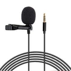 MG Lavalier mikrofón 3.5mm mini jack 1.5m, čierny