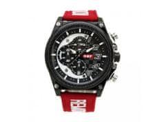 RiVALLI Hodinky pre pilotov RBF, chronograf, dátum, červený RBF kožený náramok