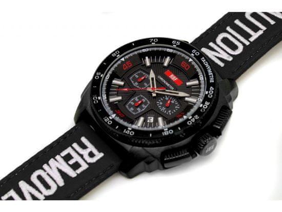 RiVALLI Hodinky pre pilotov RBF, chronograf, dátum, čierny RBF kožený náramok, tachymeter
