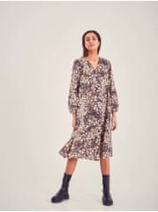 ICHI béžovo-hnědé květované šaty L