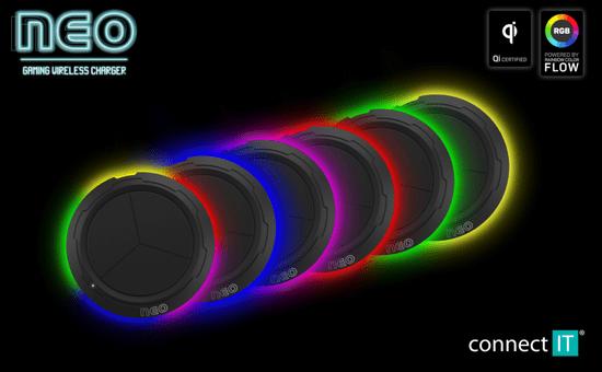 Connect IT NEO QiRGB herní bezdrátová nabíječka, 10 W CWC-3090-BK, černá