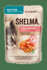 SHELMA Bezobilné dusené filetky pre mačiatka s lososom a rakytníkom 28x85 g