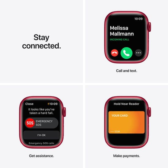 Apple Watch Series 7, 41mm (PRODUCT)RED Aluminium Case (PRODUCT)RED Sport Band MKN23HC/A