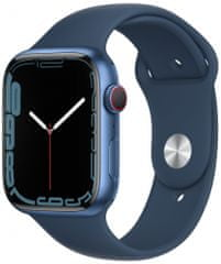 Apple Watch Series 7 Cellular, 45mm Blue Aluminium Case with Abyss Blue Sport Band MKJT3HC/A