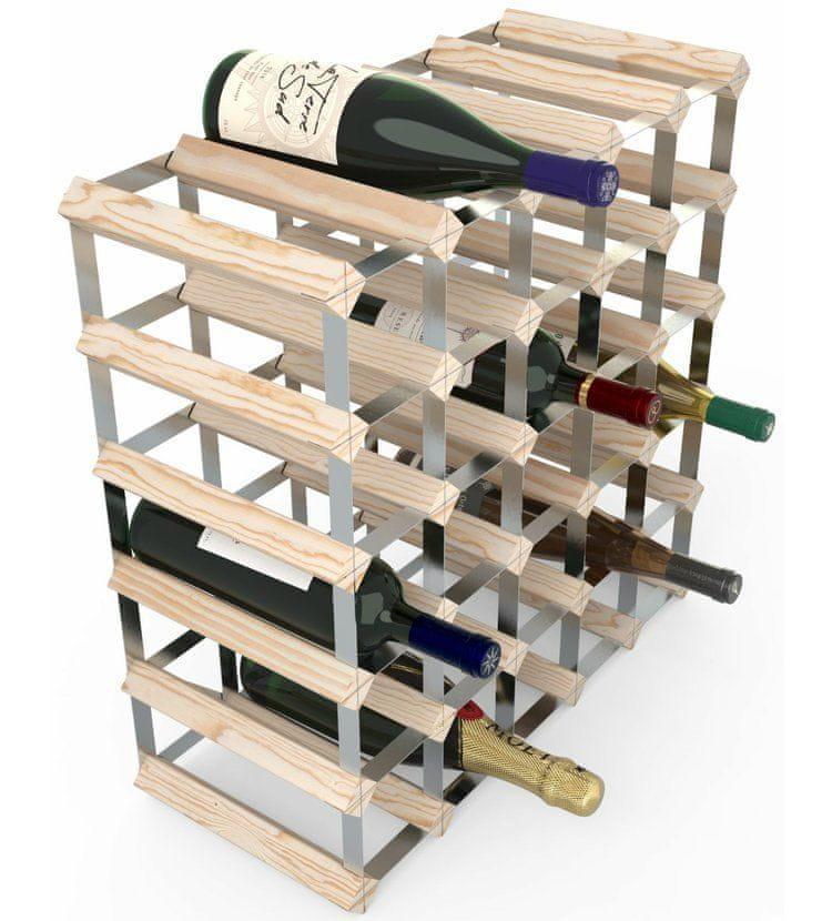 RTA Global Stojan na víno na 30 lahví, přírodní borovice - pozinkovaná ocel / rozložený