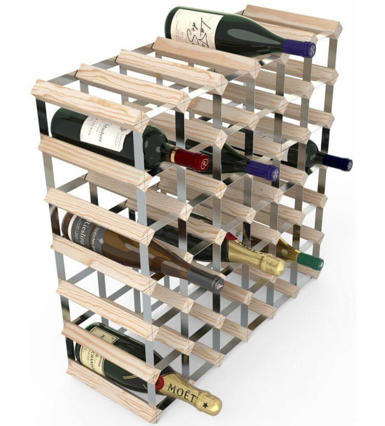 RTA Global Stojan na víno na 42 lahví, přírodní borovice - pozinkovaná ocel / rozložený
