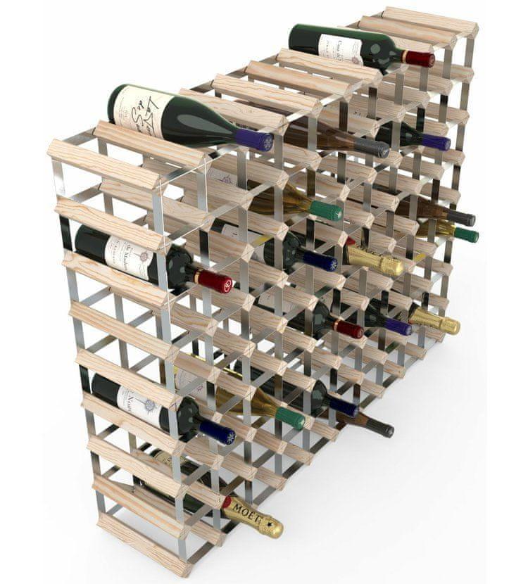 RTA Global Stojan na víno na 90 lahví, přírodní borovice - pozinkovaná ocel / rozložený