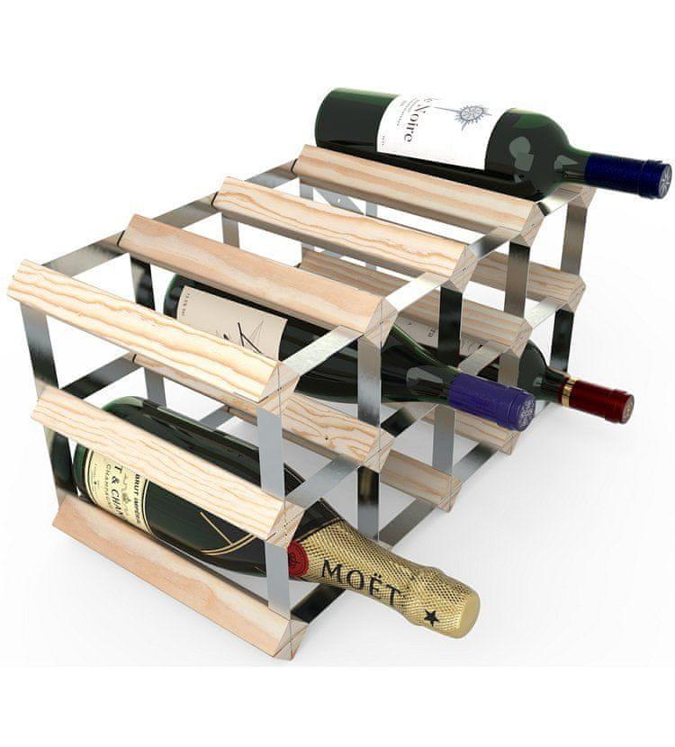 RTA Global Stojan na víno na 12 lahví, přírodní borovice - pozinkovaná ocel / sestavený