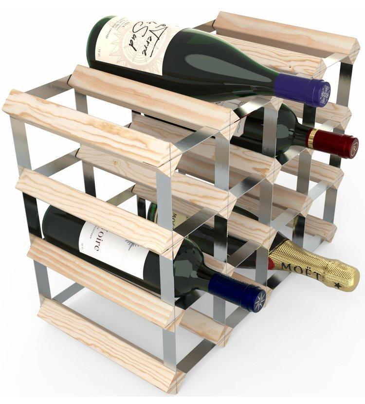 RTA Global Stojan na víno na 16 lahví, přírodní borovice - pozinkovaná ocel / sestavený