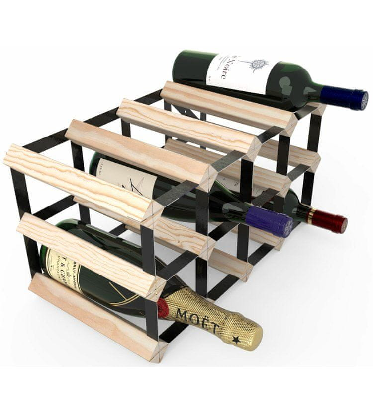 RTA Global Stojan na víno na 12 lahví, přírodní borovice - černá ocel / sestavený