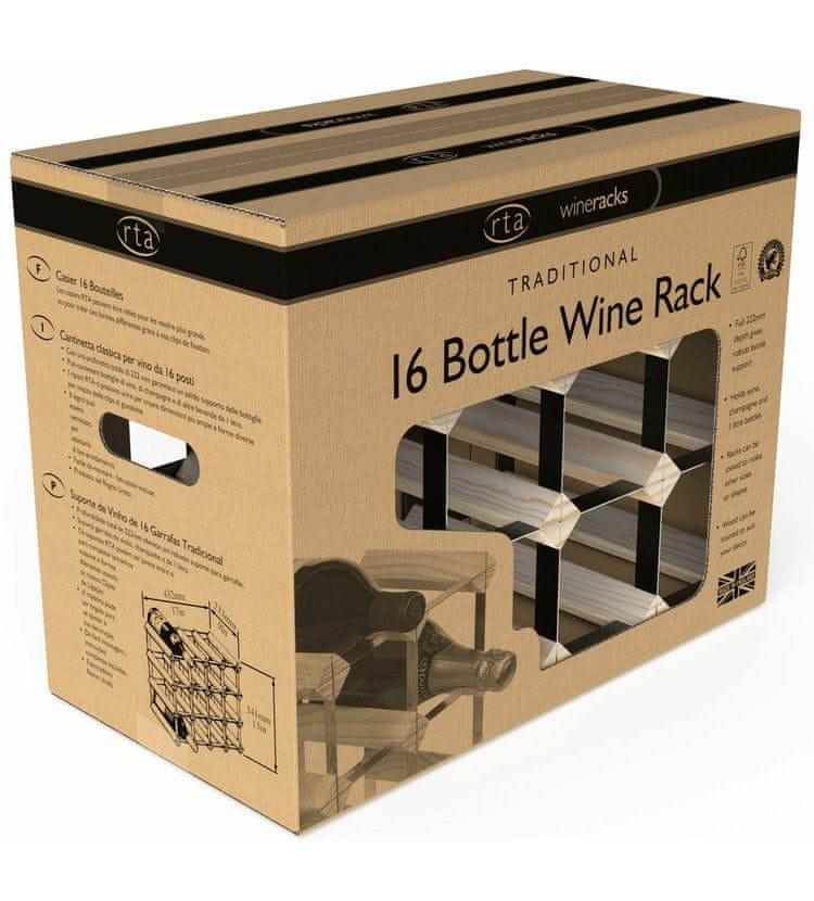 RTA Global Stojan na víno na 16 lahví, přírodní borovice - černá ocel / sestavený