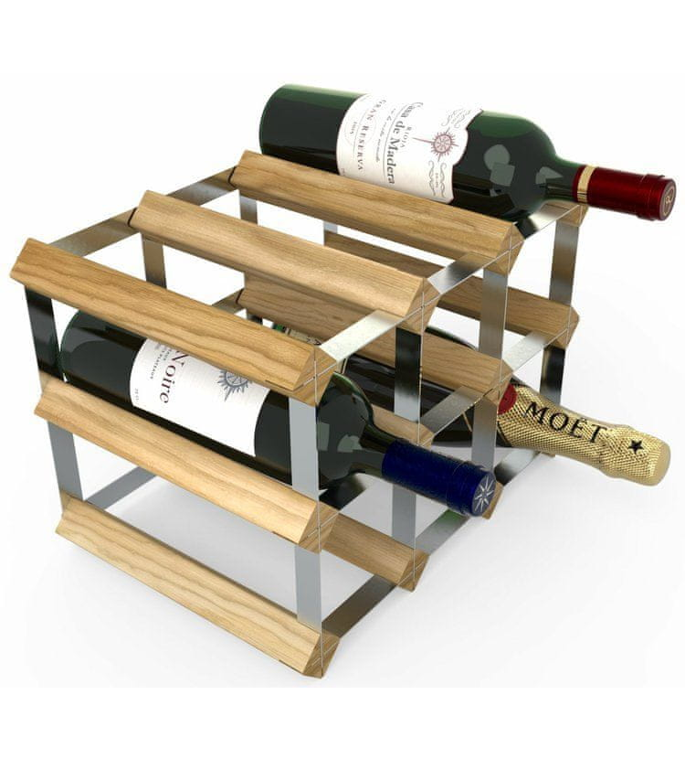 RTA Global Stojan na víno na 9 lahví, světlý dub - pozinkovaná ocel / rozložený