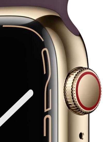 Apple Watch Series 7 Cellular, 45mm Gold Stainless Steel Case Dark Cherry Sport Band MKJX3HC/A