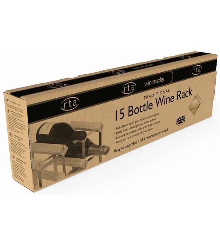 RTA Global Stojan na víno na 15 lahví, světlý dub - pozinkovaná ocel / rozložený