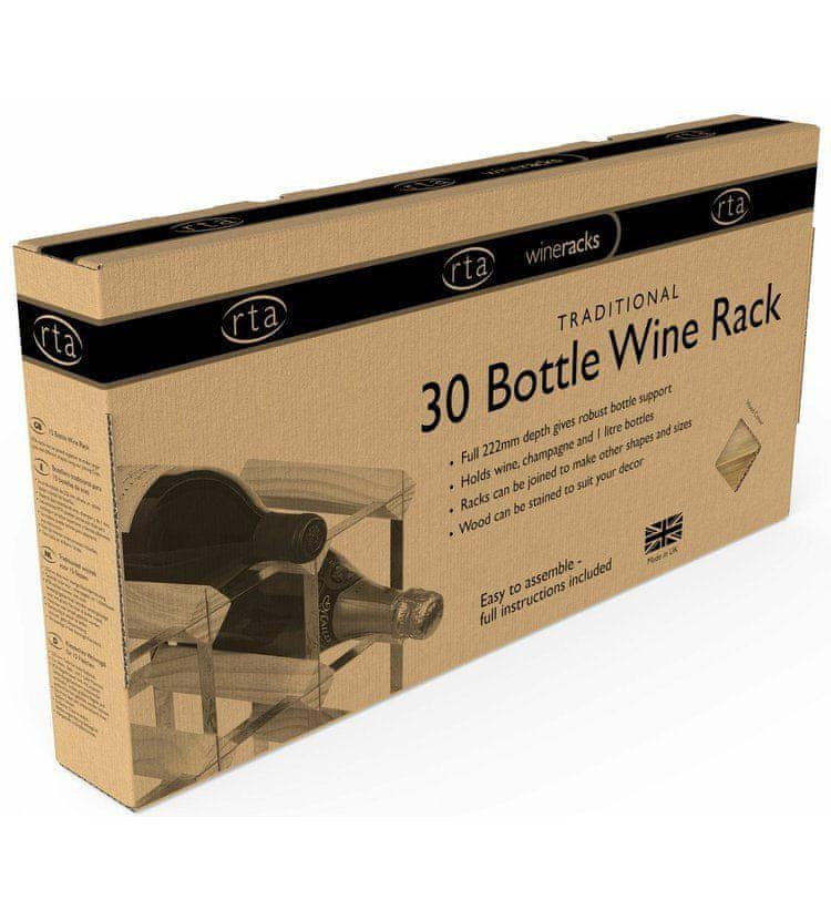 RTA Global Stojan na víno na 30 lahví, světlý dub - pozinkovaná ocel / rozložený