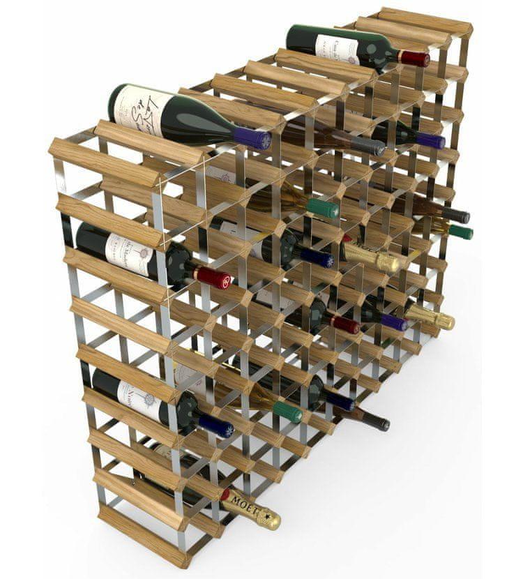 RTA Global Stojan na víno na 90 lahví, světlý dub - pozinkovaná ocel / rozložený