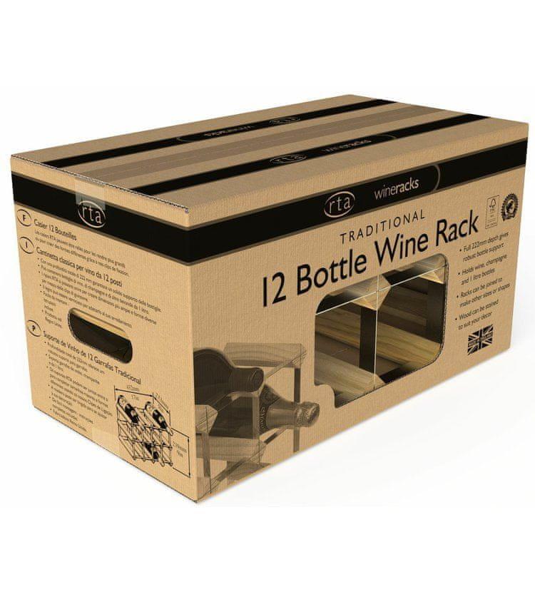 RTA Global Stojan na víno na 12 lahví, světlý dub - pozinkovaná ocel / sestavený
