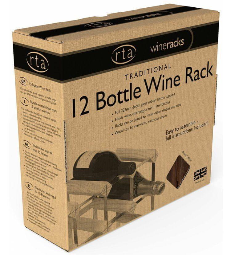 RTA Global Stojan na víno na 12 lahví, tmavá borovice - pozinkovaná ocel / rozložený