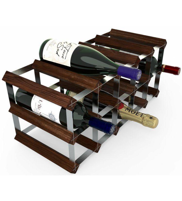 RTA Global Stojan na víno na 15 lahví, tmavá borovice - pozinkovaná ocel / rozložený