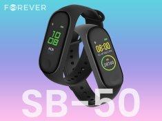 Forever FitBand SB-50 pametna zapestnica, Bluetooth 5.0, aplikacija, vodoodporna IP65, črna