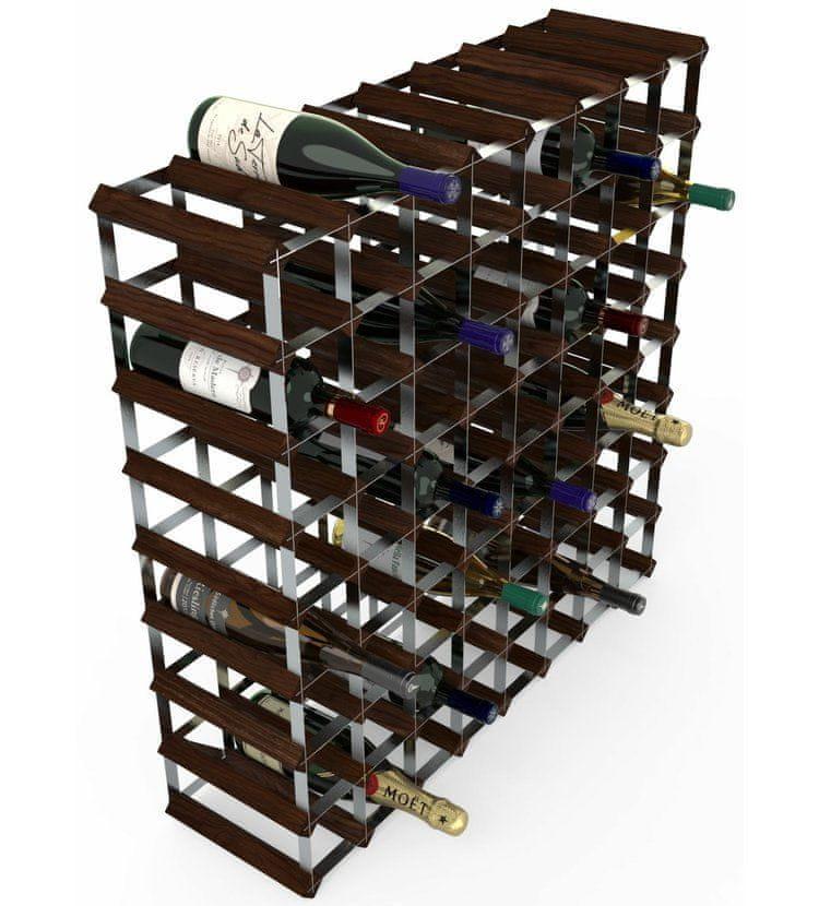 RTA Global Stojan na víno na 72 lahví, tmavá borovice - pozinkovaná ocel / rozložený