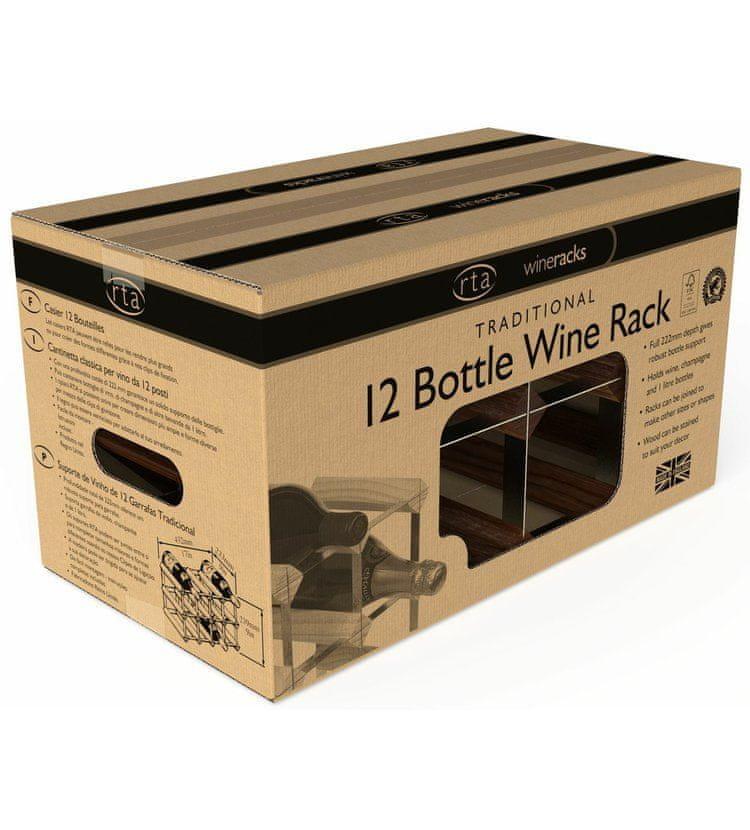 RTA Global Stojan na víno na 12 lahví, tmavá borovice - pozinkovaná ocel / sestavený