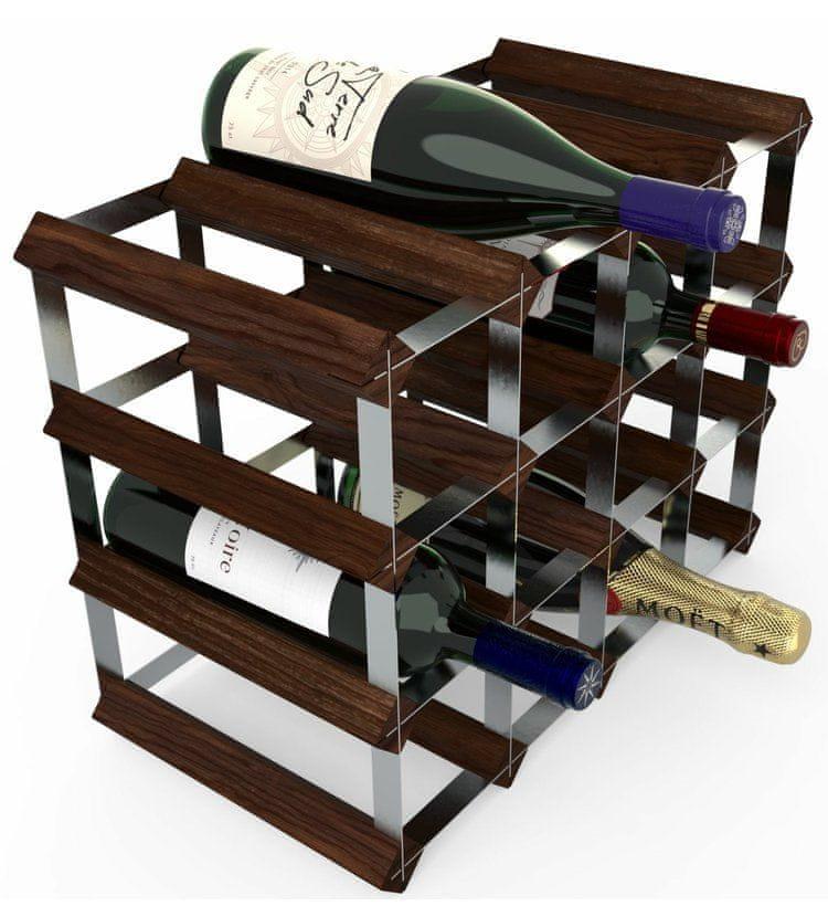 RTA Global Stojan na víno na 16 lahví, tmavá borovice - pozinkovaná ocel / sestavený