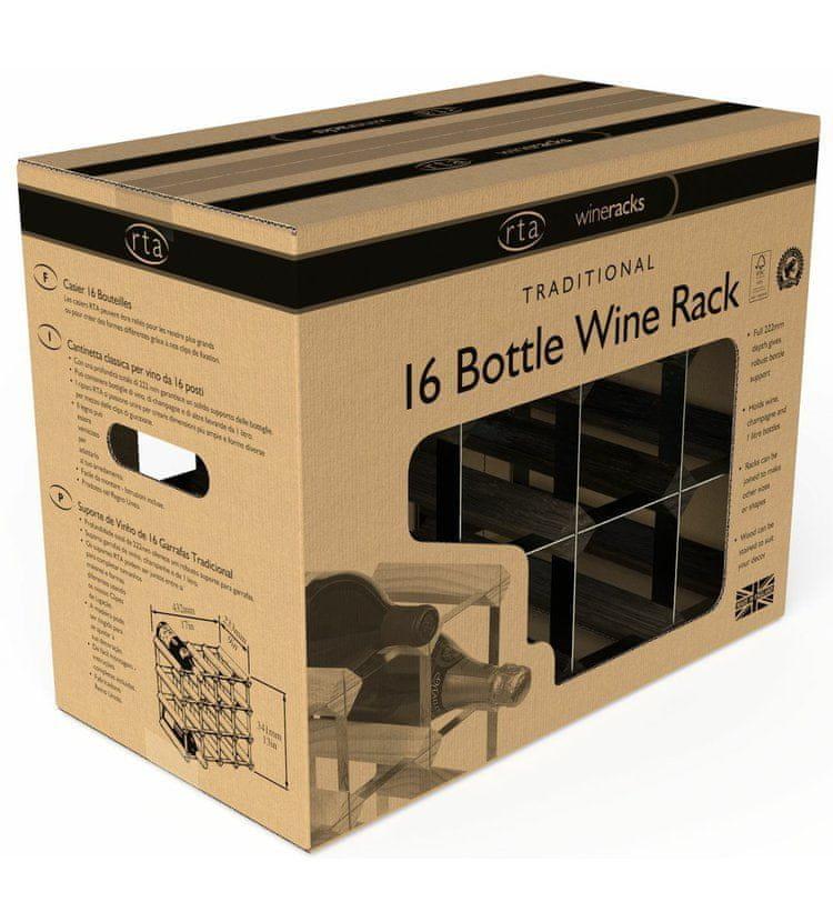 RTA Global Stojan na víno na 16 lahví, černý jasan - černá ocel / sestavený