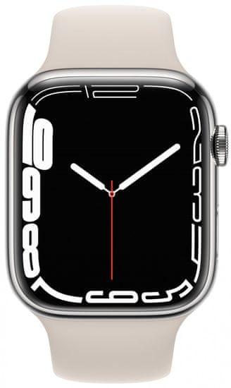 Apple Watch Series 7 Cellular, 45mm Silver Stainless Steel Case Starlight Sport Band MKJV3HC/A