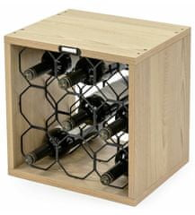 Compactor Stojan na 9 láhví vína CUBE VERTICAL, dekor dub, 36,5 x 29 x V36,3 cm