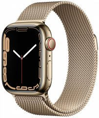 Apple Watch Series 7 Cellular, 41mm Gold Stainless Steel Case Gold Milanese Loop MKJ03HC/A