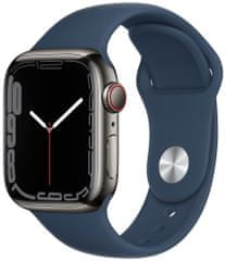 Apple Watch Series 7 Cellular, 41mm Graphite Stainless Steel Case Abyss Blue Sport Band MKJ13HC/A
