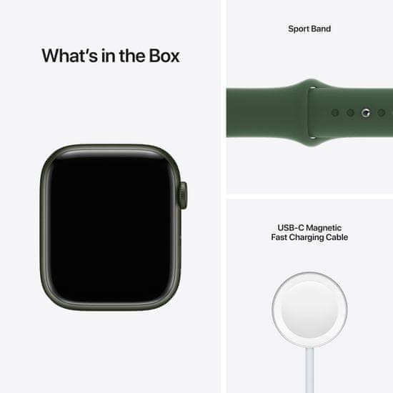 Apple Watch Series 7 Cellular, 45mm Green Aluminium Case Clover Sport Band MKJR3HC/A