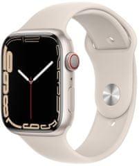 Apple Watch Series 7 Cellular, 45mm Starlight Aluminium Case Starlight Sport Band MKJQ3HC/A