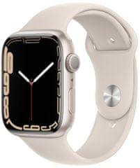 Apple Watch Series 7, 45mm Starlight Aluminium Case Starlight Sport Band MKN63HC/A
