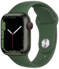 Apple Watch Series 7 Cellular, 41mm Green Aluminium Case Clover Sport Band MKHT3HC/A